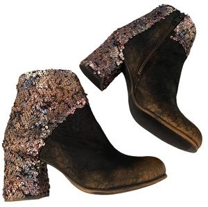 Papucei New Women's Boots Kendra Black Nubuck Leather size 38